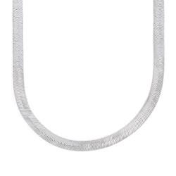 4.5mm Rhodium Plated Flat Herringbone Chain Necklace