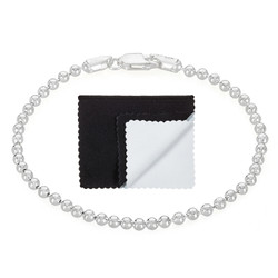 3mm Solid .925 Sterling Silver Ball Military Ball Chain Bracelet