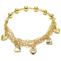 8.1mm Polished 0.25 mils (6 microns) 14k Yellow Gold Plated Bead Chain Anklet, 9.5 inches