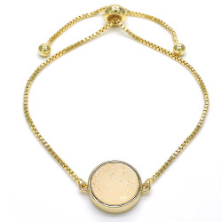 14.6mm Polished 0.25 mils (6 microns) 14k Yellow Gold Plated Bolo Bracelet, 10 inches + Jewelry Cloth & Pouch