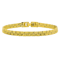 5.7mm Textured 14k Yellow Gold Plated Flat Nugget Link Bracelet