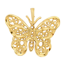 Gold Plated Intricate Filigree Butterfly Pendant + Microfiber