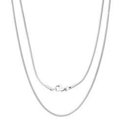 1.5mm High-Polished Stainless Steel Round Snake Chain Necklace