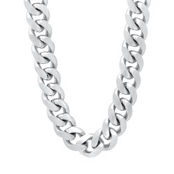 11mm Rhodium Plated Flat Cuban Link Curb Chain Necklace