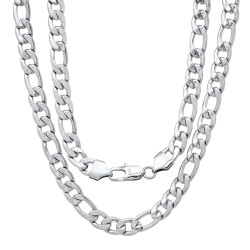 Men's 8.8mm High-Polished Stainless Steel Flat Figaro Chain Necklace
