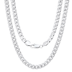 Men's 7mm High-Polished Stainless Steel Flat Cuban Link Curb Chain Necklace, 20'-30 + Jewelry Cloth & Pouch