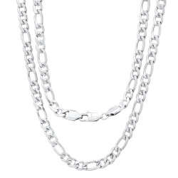 Men's 6.2mm High-Polished Stainless Steel Flat Figaro Chain Necklace