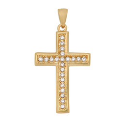 Gold Plated Cross Pendant w/Round Brilliant Cut CZs + Microfiber