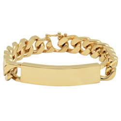 10mm 14k Yellow Gold Plated Beveled Curb Engravable ID Bracelet