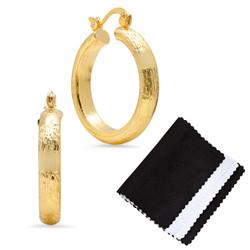 5.3mm Gold Plated Medium Hoop Cut Finish Earrings