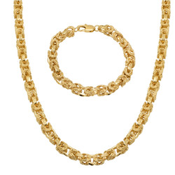 8mm 14k Yellow Gold Plated Puffed Puffed Byzantine Chain Necklace + Bracelet Set