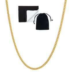 2.2mm 0.25 mils (6 microns) 24k Yellow Gold Plated Cuban Link Curb Chain Necklace, 7'-30 + Jewelry Cloth & Pouch
