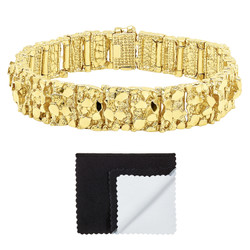 Thick 15mm 14k Gold Plated Chunky Nugget Textured Link Bracelet + Microfiber