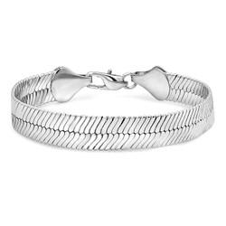 10mm Rhodium Plated Flat Herringbone Chain Bracelet