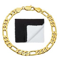 6mm 14k Yellow Gold Plated Flat Figaro Chain Bracelet