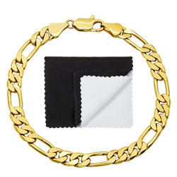 6mm High-Polished 0.25 mils (6 microns) 14k Yellow Gold Plated Flat Figaro Chain Bracelet, 7'-9 + Jewelry Cloth & Pouch