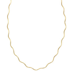 1.3mm 0.16 mils (4 microns) 14k Yellow Gold Plated Silver Omega Chain Necklace, 16'-20 + Jewelry Cloth & Pouch