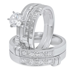His & Hers Sterling Silver Italian Crafted CZ Accented Baroque 3-Piece Wedding Ring Set + Cleaning Cloth