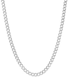 Men's 5.1mm .925 Sterling Silver Diamond-Cut Flat Cuban Link Curb Chain Necklace