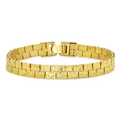 7.5mm Textured 0.25 mils (6 microns) 14k Yellow Gold Plated Flat Nugget Link Bracelet, 7'-9 + Jewelry Cloth & Pouch