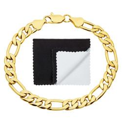 7mm 14k Yellow Gold Plated Flat Figaro Chain Bracelet