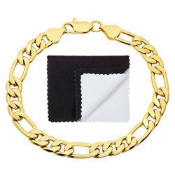 7mm High-Polished 0.25 mils (6 microns) 14k Yellow Gold Plated Flat Figaro Chain Bracelet, 7'-9 + Jewelry Cloth & Pouch