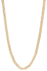 3.9mm 14k Yellow Gold Plated Flat Mariner Chain Necklace