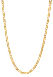 3.1mm 14k Yellow Gold Plated Flat Link Chain Necklace + Gift Box