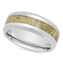 Titanium 8mm Comfort Fit Ring w/Olive Green Riverstone Inlay + Microfiber