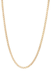 2.7mm 14k Yellow Gold Plated Flat Mariner Chain Necklace
