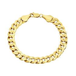 9mm 14k Yellow Gold Plated Flat Curb Chain Bracelet