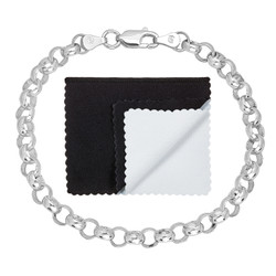 5.8mm Solid .925 Sterling Silver Round Rolo Chain Bracelet