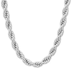 Men's 6mm High-Polished Stainless Steel Twisted Rope Chain Necklace + Gift Box