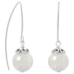 Sterling Silver 12mm White Glass Pearl Threader Drop Dangling Earrings + Polishing Cloth