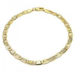 5.4mm Polished 0.25 mils (6 microns) 14k Yellow Gold Plated Flat Mariner Chain Anklet, 10 inches