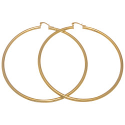 Women's 14k Yellow Gold Plated Round Hoop Earrings + Gift Box