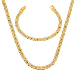 5.7mm 14k Yellow Gold Plated Flat Nugget Chain Necklace + Link Bracelet Set