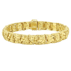 Thick 11mm 14k Yellow Gold Plated Chunky Nugget Textured Link Bracelet + Microfiber