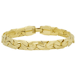 Gold Plated Textured Flat Mariner Link Anchor Style Bracelet + Microfiber