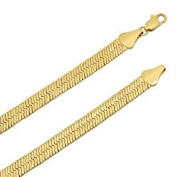 7.2mm 14k Yellow Gold Plated Flat Herringbone Chain Necklace + Gift Box