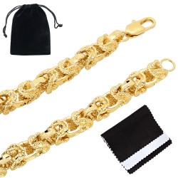 8mm Textured 0.25 mils (6 microns) 14k Yellow Gold Plated Puffed Puffed Byzantine Chain Necklace