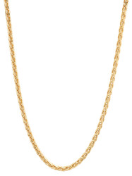 3.1mm High-Polished 0.25 mils (6 microns) 14k Yellow Gold Plated Round Wheat Chain Necklace, 7 inches