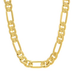 8mm 14k Yellow Gold Plated Flat Figaro Chain Necklace
