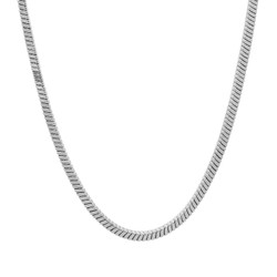 3mm Rhodium Plated Round Snake Chain Necklace