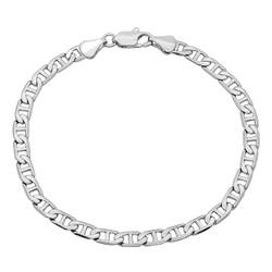 5mm Rhodium Plated Flat Mariner Chain Bracelet