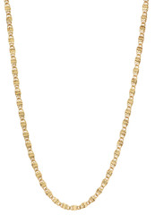 3mm High-Polished 0.25 mils (6 microns) 14k Yellow Gold Plated Flat Venetian Chain Necklace, 16'-30