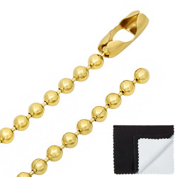 6.5mm 14k Yellow Gold Plated Ball Military Ball Chain Necklace + Gift Box