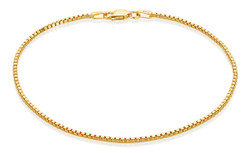 1.5mm High-Polished 0.16 mils (4 microns) Gold Plated Silver Square Box Chain Necklace, 7'-30