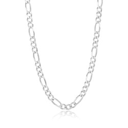 Men's 9.3mm Oxidized Plated Silver Flat Figaro Chain Necklace, 8'-30