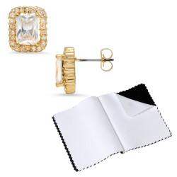 14k Gold Plated Rectangular Emerald Cubic Zirconia Push Back Stud Earrings